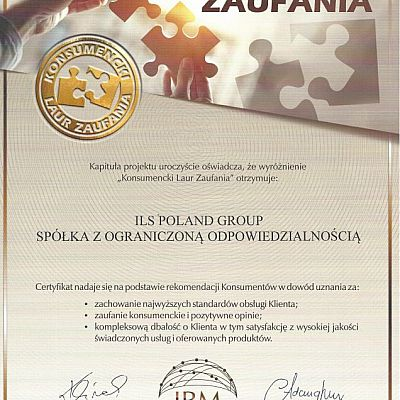 CERTIFICATE CONSUMER LAUREL OF TRUST 2021 GRANTED TO ILS POLAND GROUP
